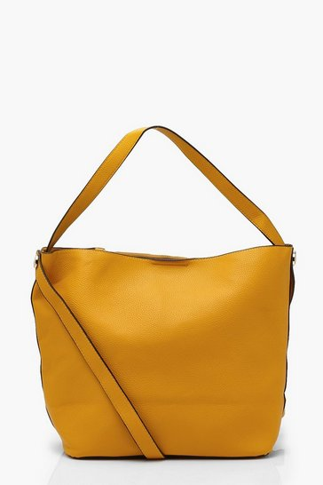 Mustard Bucket Day Bag With Cross Body Strap