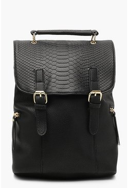 Womens Black Faux Snake Flap Buckle Rucksack