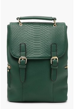 Womens Green Faux Snake Flap Buckle Rucksack