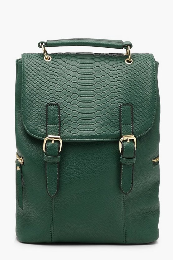 Faux Snake Flap Buckle Rucksack