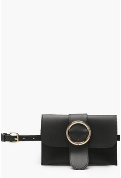 Womens Black Circle Buckle Belt Bag
