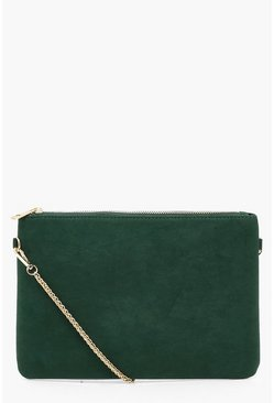 Womens Green Suedette Chunky Chain Cross Body Bag