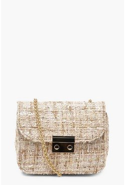 Womens Cream Tweed & Lock Cross Body
