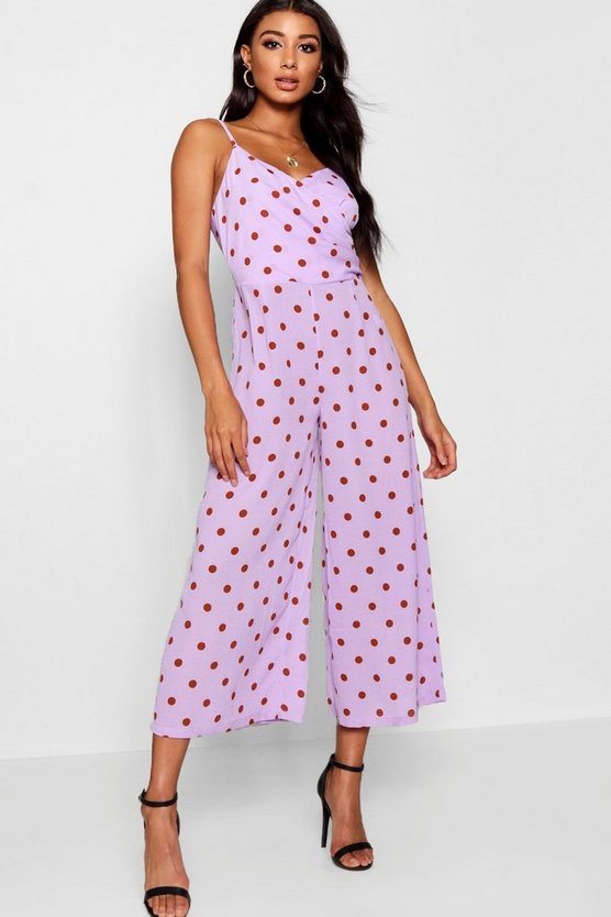 Womens Lilac Polka Dot Wrap Culotte Jumpsuit