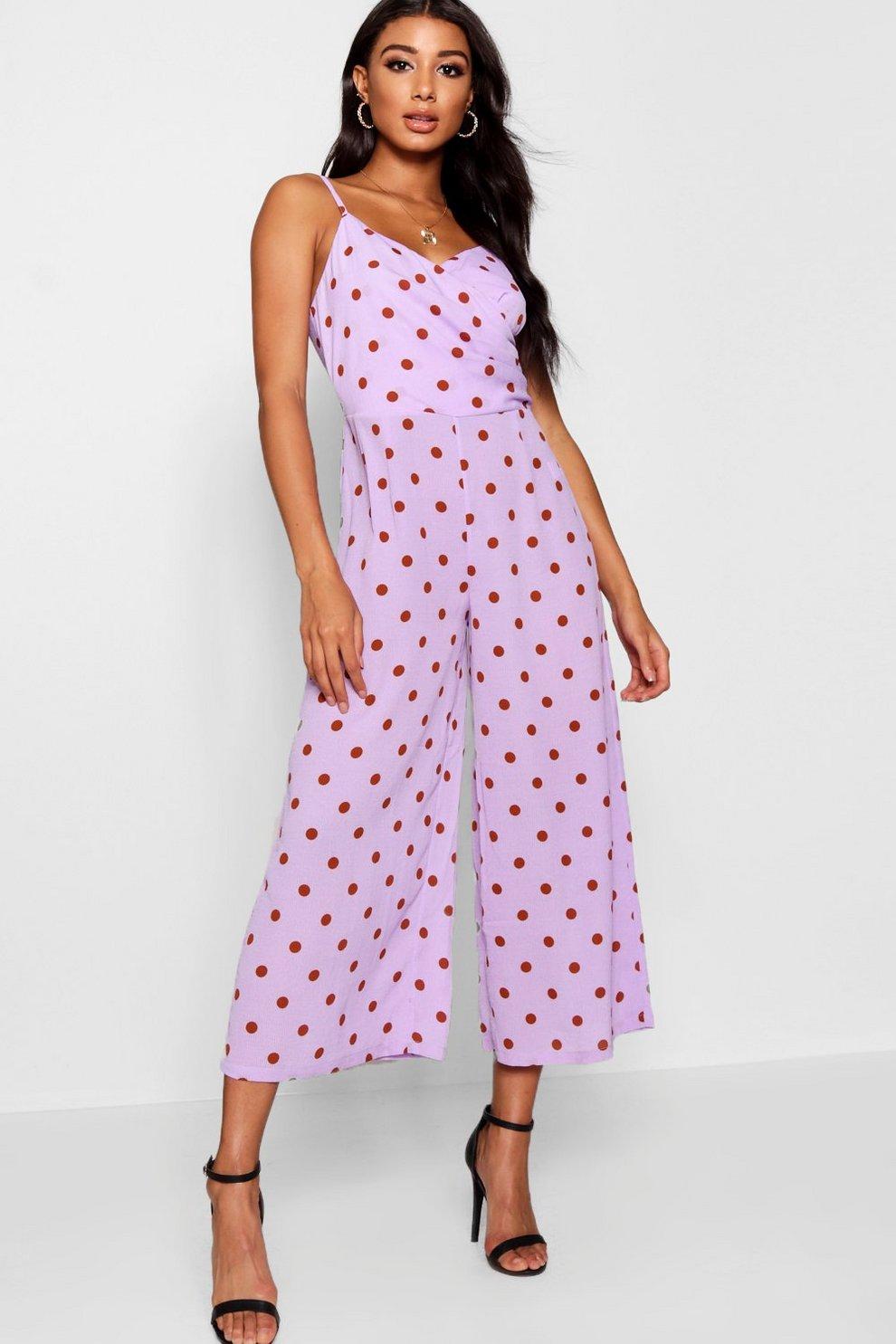 e29fb017fed1 Polka Dot Wrap Culotte Jumpsuit