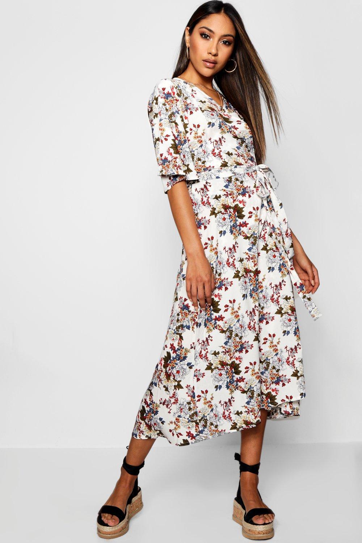 b282bf36eed8 Flared Sleeve Floral Wrap Midi Dress | Boohoo