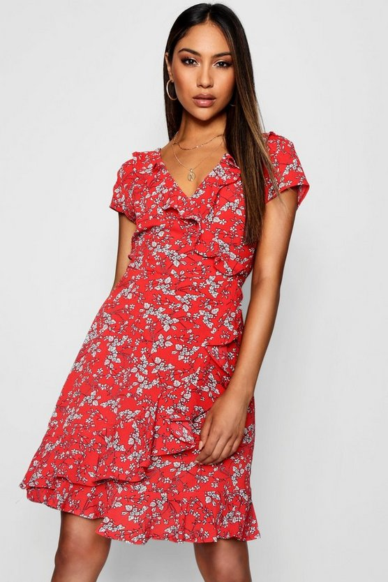 Ruffle Front Ditsy Floral Tea Dress
