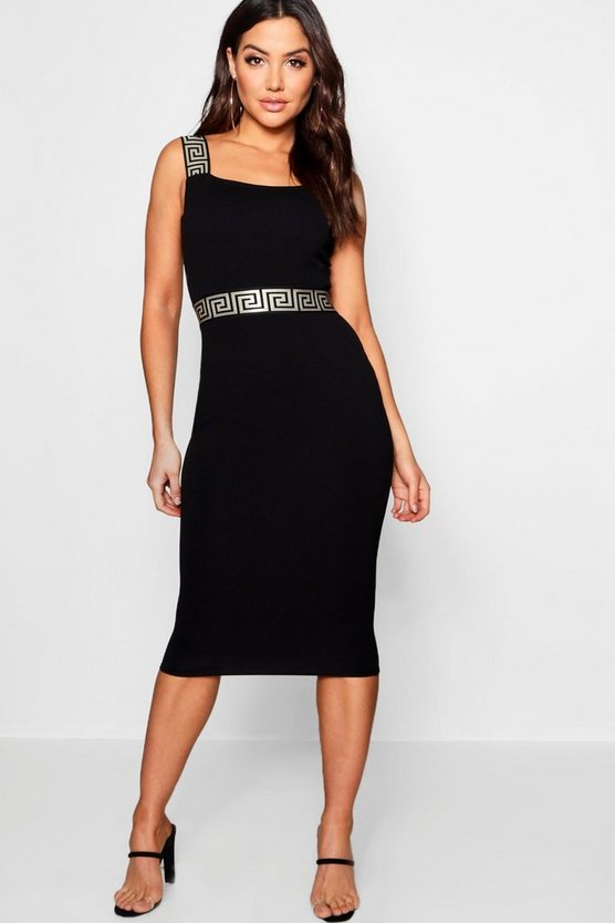 Greek Key Trim Bodycon Midi Dress