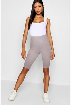 Womens Grey Basic Cotton Elastane Cycling Short