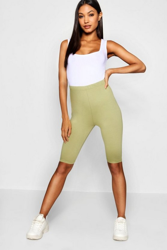 Womens Khaki Basic Cotton Elastane Cycling Short