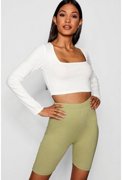 Womens Khaki Cropped Cotton Elastane Cycling Short