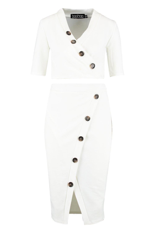 de asimétrica cuerno minifalda Conjunto blanco botones de con qFxzqw41