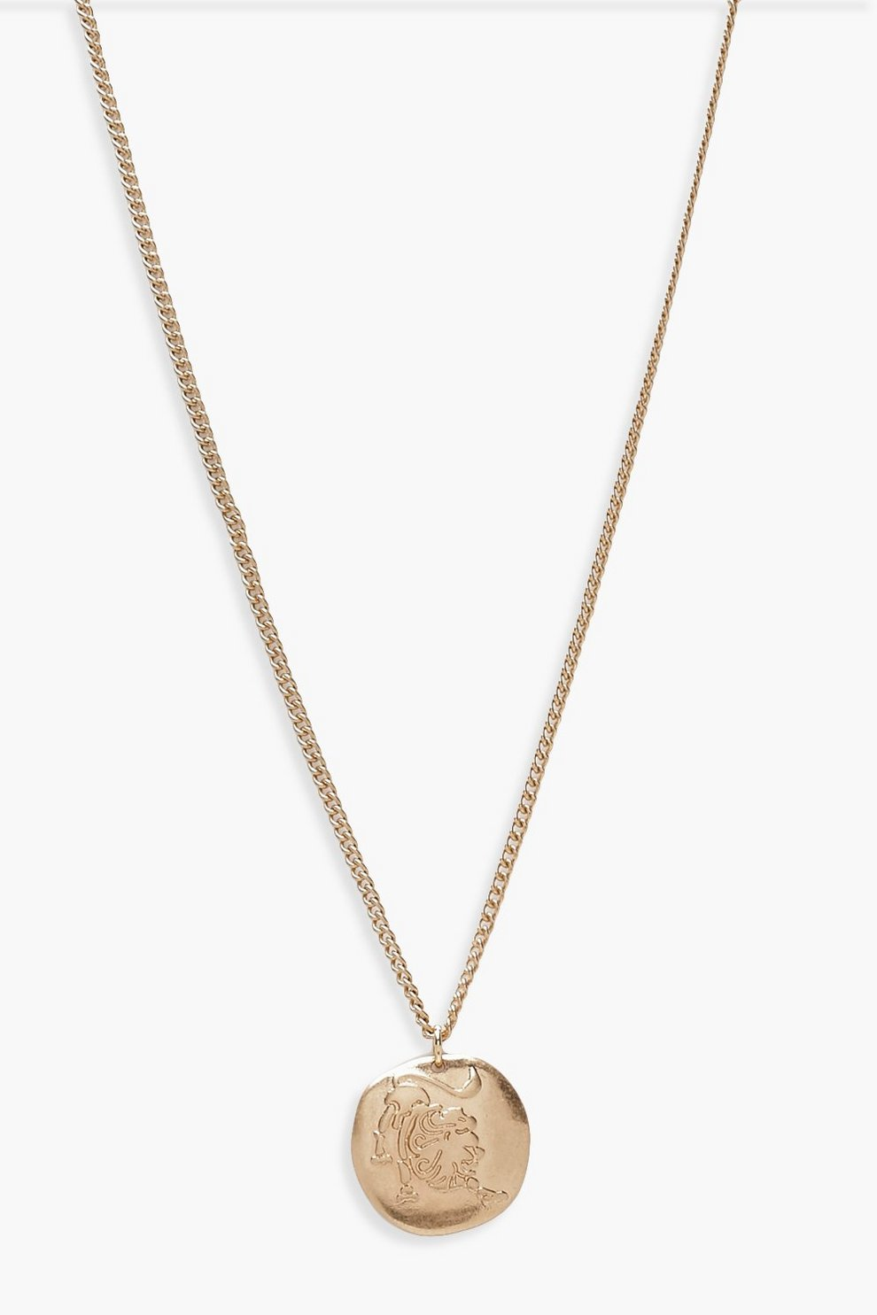 Leo Zodiac Coin Pendant Necklace Boohoo