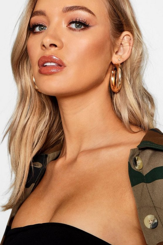 Gold Chunky Bar Hoop Earrings
