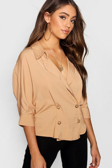 Womens Stone Double Breasted Wrap Shirt