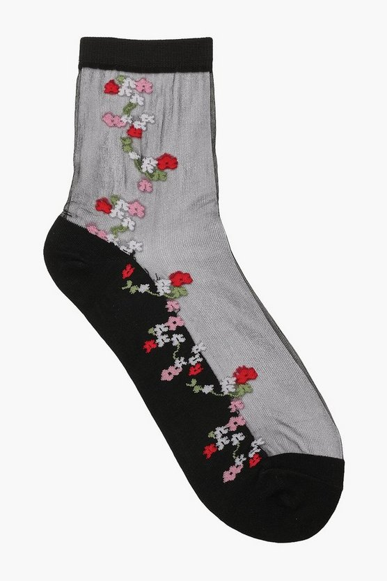 Rose Detail Sheer Socks