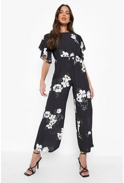 Black Floral Angel Sleeve Jumpsuit