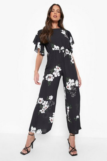 Womens Black Floral Angel Sleeve Jumpsuit