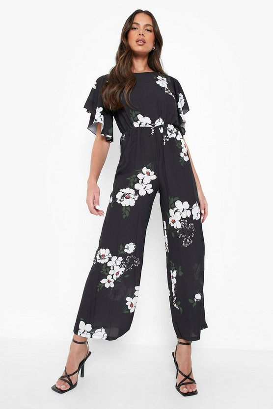 Floral Angel Sleeve Jumpsuit