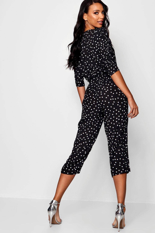 3b51c6448fd9 Boohoo Womens Mutton Sleeve Polka Dot Culotte Jumpsuit in Terracotta size 8