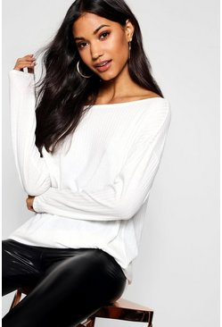 Womens Cream Off The Shoulder Oversized Rib Knit Sweater