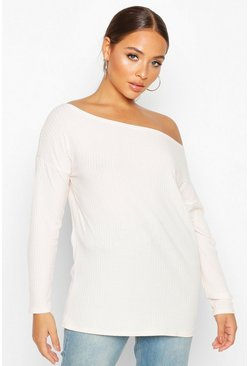 Womens Ecru Off The Shoulder Oversized Rib Knit Sweater