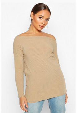 Womens Moss Off The Shoulder Oversized Rib Knit Jumper