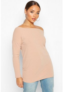 Womens Stone Off The Shoulder Oversized Rib Knit Sweater