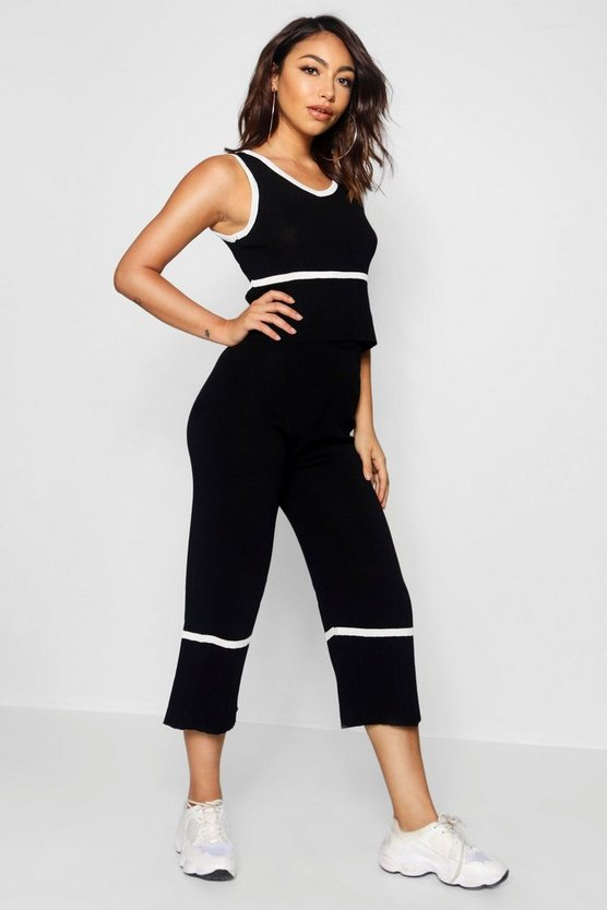 Contrast Stripe Knitted Co-ord