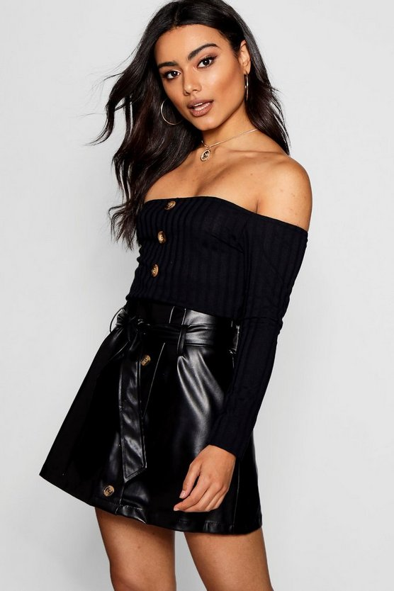 Bardot Rib Knit Button Front Crop Top