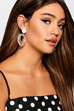 Specked Clear Hoop Earrings