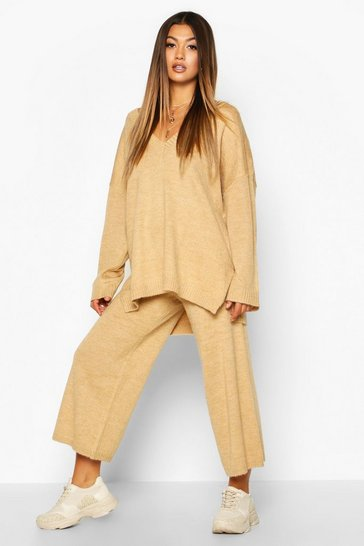 Womens Camel Oversized Slouchy Knitted Deep V Neck Co-ord Set