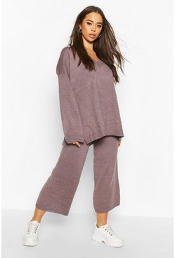 Grey Oversized Slouchy Knitted Deep V Neck Co-ord Set
