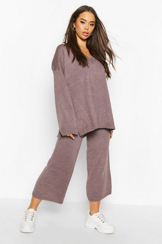 Oversized Slouchy Knitted Deep V Neck Co-ord Set