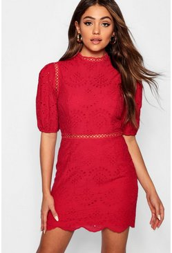 Womens Berry Anglais Puff Sleeve Bodycon Dress