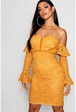 Womens Mustard Lace Off the Shoulder Frill Detail Midi Dress