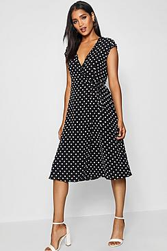 Polka Dot Dresses: 20s, 30s, 40s, 50s, 60s Polka Dot and Ruffle Wrap Midi Dress $50.00 AT vintagedancer.com