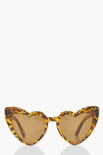 Womens Brown Oversized Heart Cat Eye Sunglasses