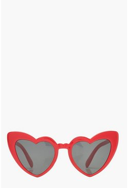 Red Oversized Heart Cat Eye Sunglasses