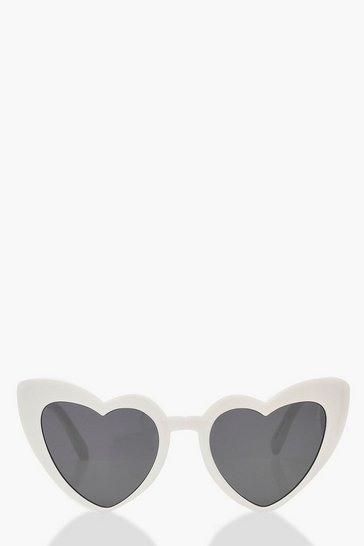 White Oversized Heart Cat Eye Sunglasses