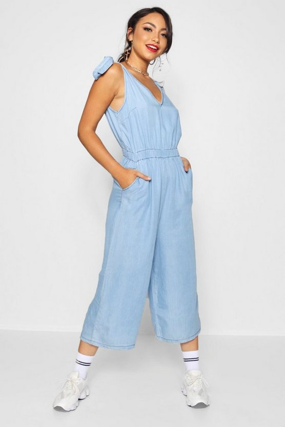 Womens Mid blue Tie Shoulder Wide Leg Denim Jumpsuit