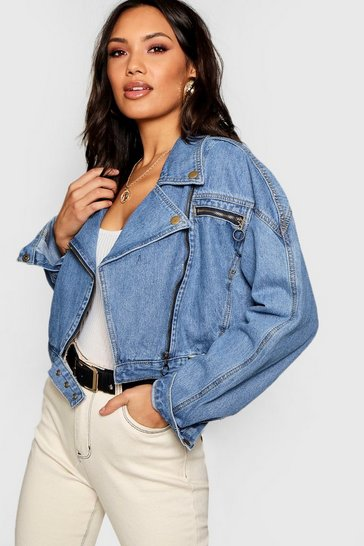 Womens Mid blue Crop Biker Zip Denim Jacket