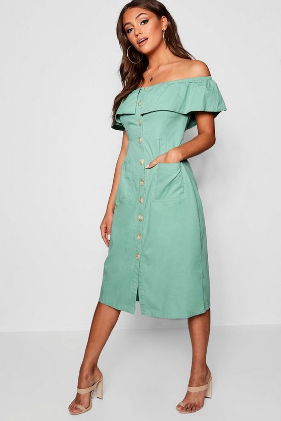 Womens Sage Off Shoulder Horn Button Denim Dress