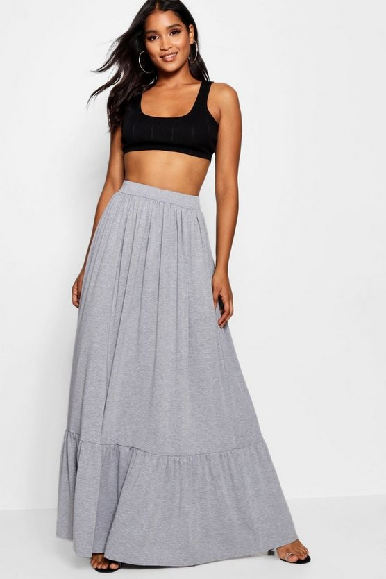 Womens Grey marl Tiered Floor Sweeping Maxi Skirt