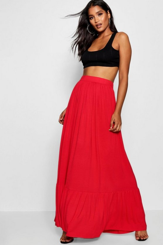 Womens Tomato Tiered Floor Sweeping Maxi Skirt