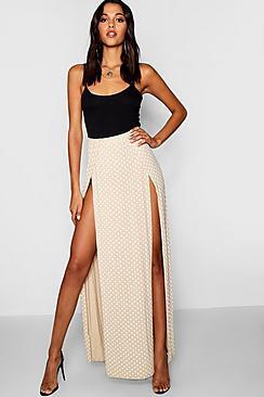 Polka Dot Print Thigh Split Maxi Skirt