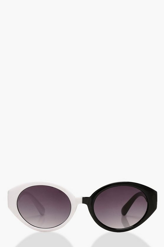 Monochrome Oval Retro Sunglasses