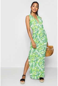 Womens Green Plunge Front Jersey Maxi Dress