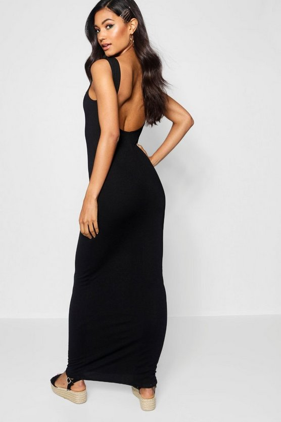 Low Scoop Back Jersey Maxi Dress