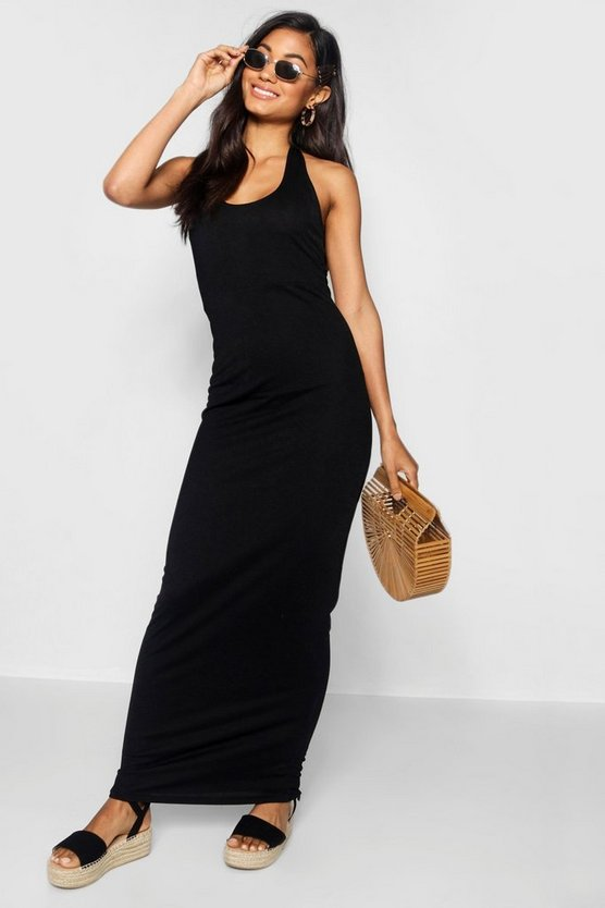 Black Halterneck Plunge Jersey Maxi Dress